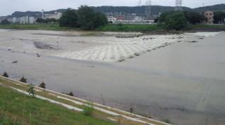 浅川CR 平井橋付近の増水