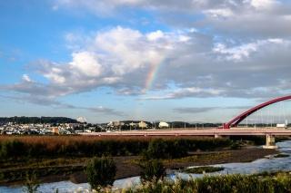 多摩サイ 多摩大橋 虹と富士山