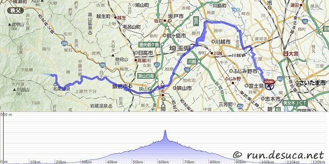 羽根倉橋(秋ヶ瀬公園)-荒川CR-入間川CR-名栗湖往復